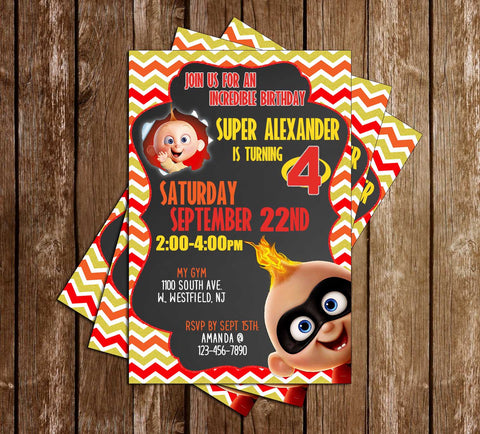 The Incredibles - Jack Jack-  Birthday Party Invitations