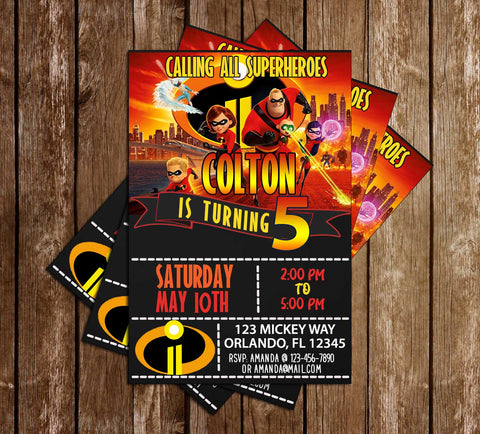 The Incredibles 2 - Tall -  Birthday Party - Invitations