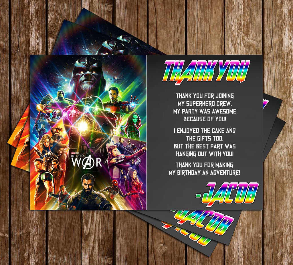 Infinity War - Avengers Movie - Birthday Party - Thank You Card