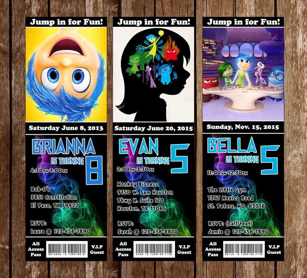 Novel Concept Designs Inside Out Movie Birthday Party Ticket - Birthday invitations inside out