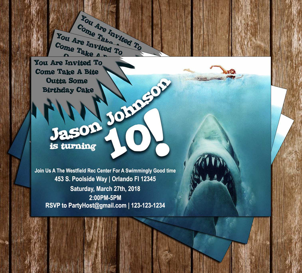 Novel Concept Designs Jaws Shark Bite Birthday Party Invitation