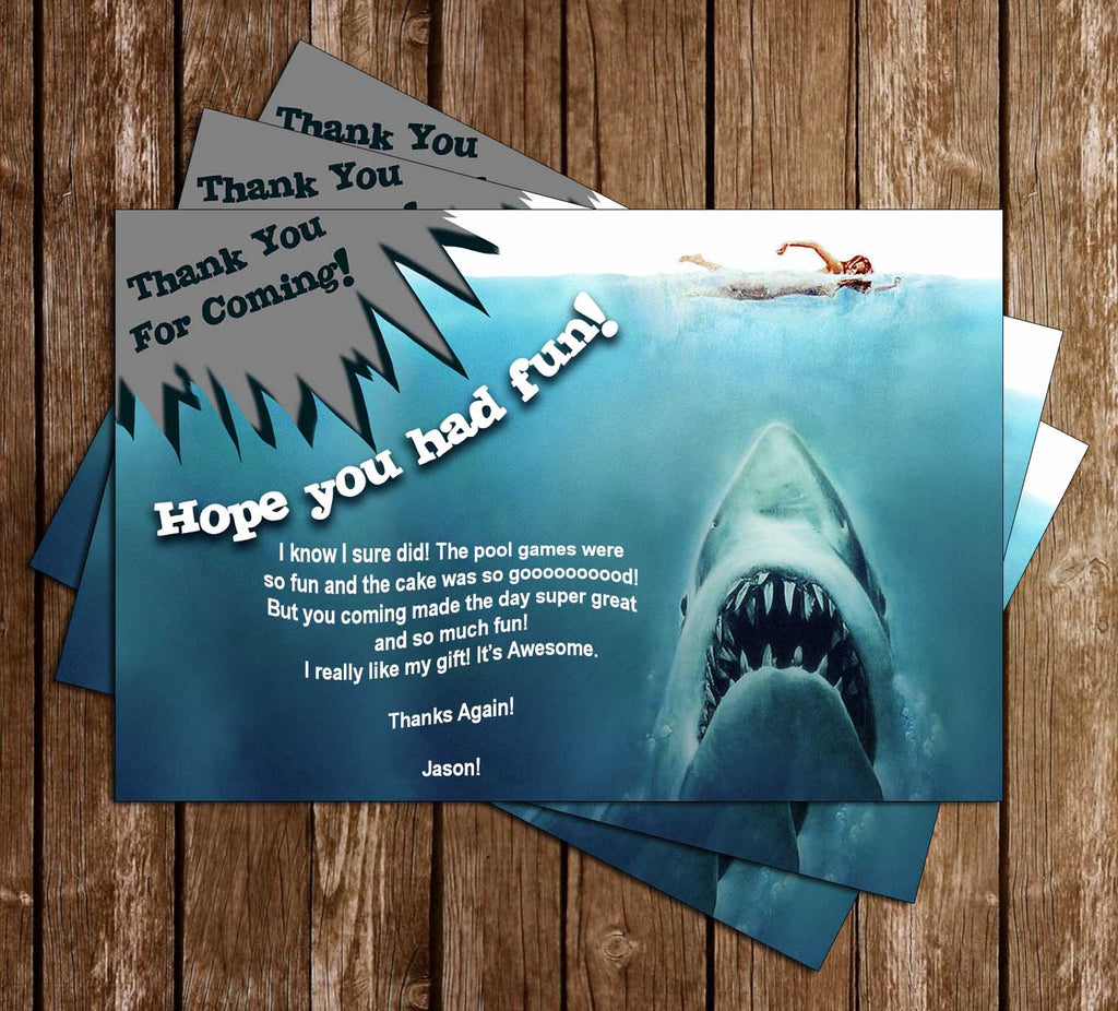 Jaws - Shark bite - Birthday Party - Thank You Card