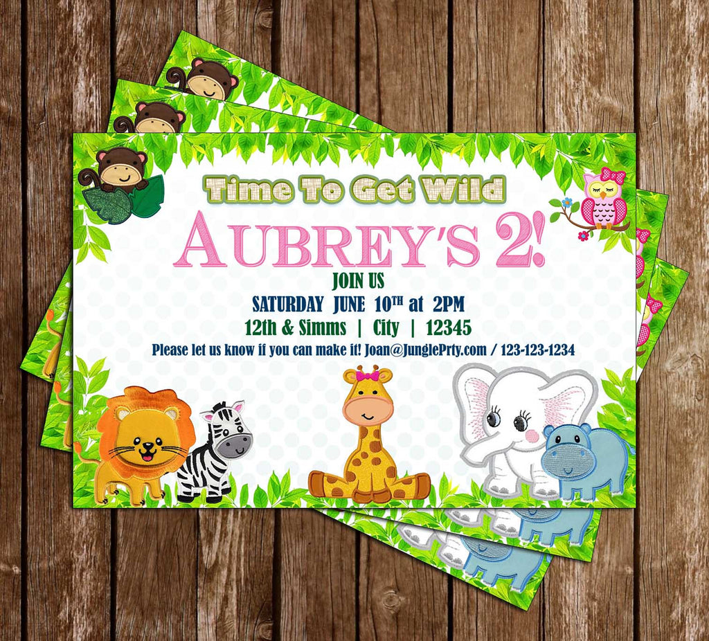 Let's Get Wild - Jungle Animals - Birthday Party - Invitation