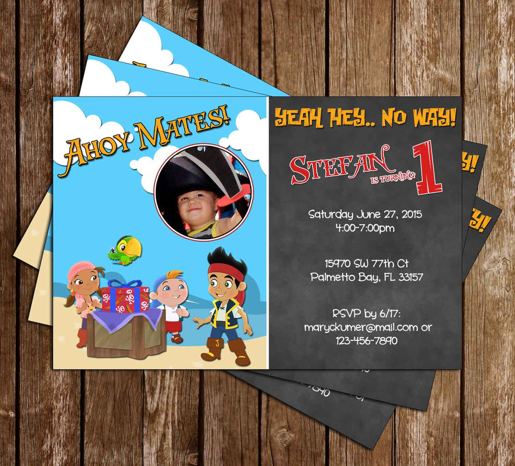 Disney Jr Jake and the Never-land Pirates Birthday Invitation