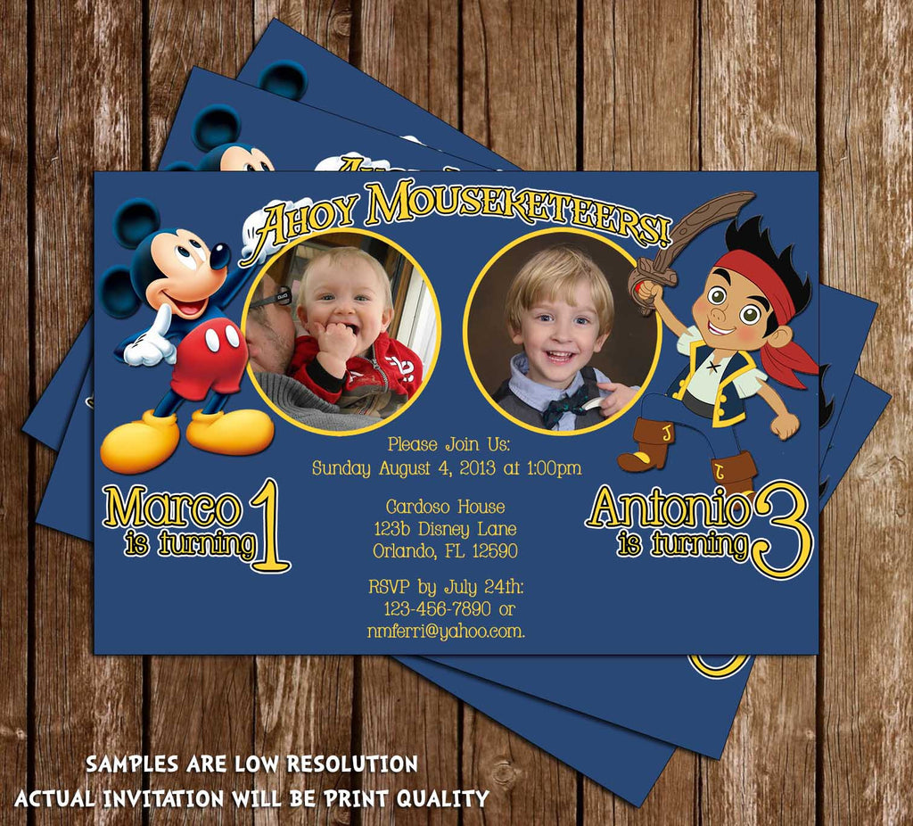 Jake and Mickey Birthday Invitation