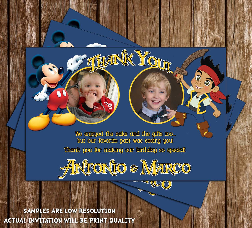 Jake and Mickey Birthday Thank You Card