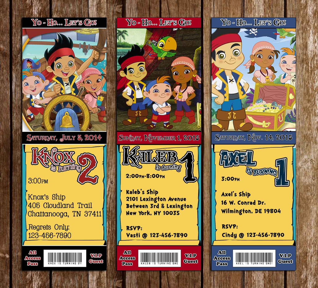 Jake and the Neverland Pirates Birthday Party Ticket Invitation