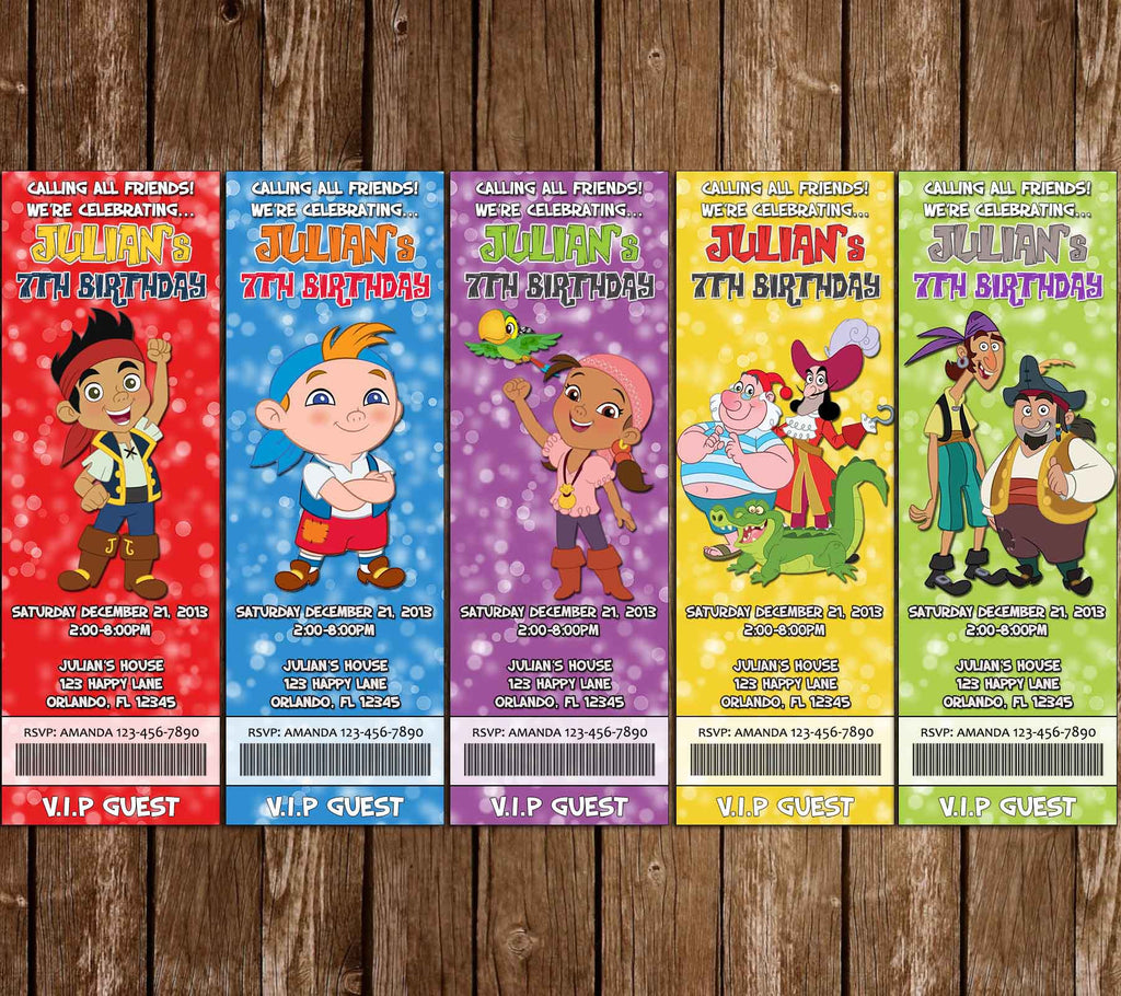 Disney Jake and the Never Land Pirates Birthday Party Ticket Invitation (5 Designs!)