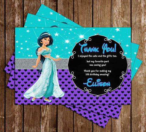 Disney Princess Jasmine - Aladdin Movie - Birthday Thank You Cards