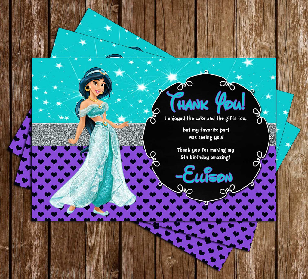 Disney Princess Jasmine - Aladdin Movie - Birthday Thank You Card