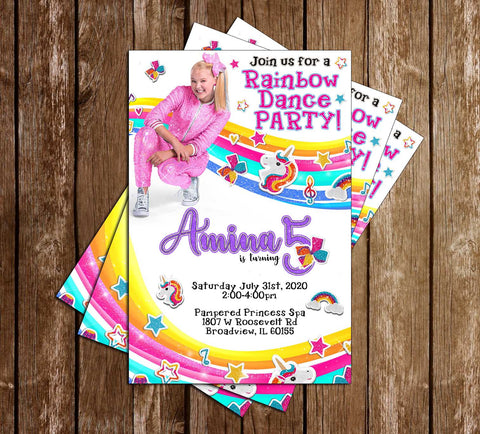 Jojo Siwa - Rainbow - Birthday - Party - Invitation