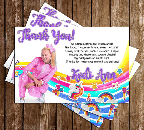 Jojo Siwa - Rainbow - Birthday - Party - Thank You