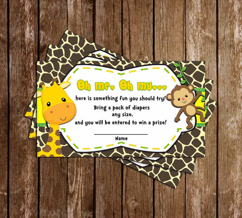Baby Jungle Animals - Wild Safari - Baby Shower - Diaper Raffle Tickets
