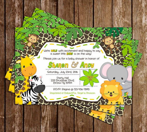 Baby Jungle Animals - Wild Safari - Baby Shower Invitation -