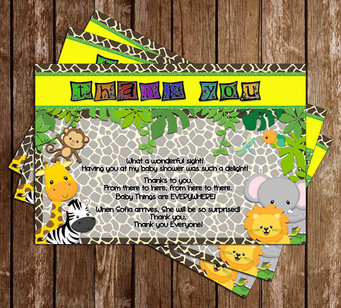 Baby Jungle Animals - Wild Safari - Baby Shower Thank You Card