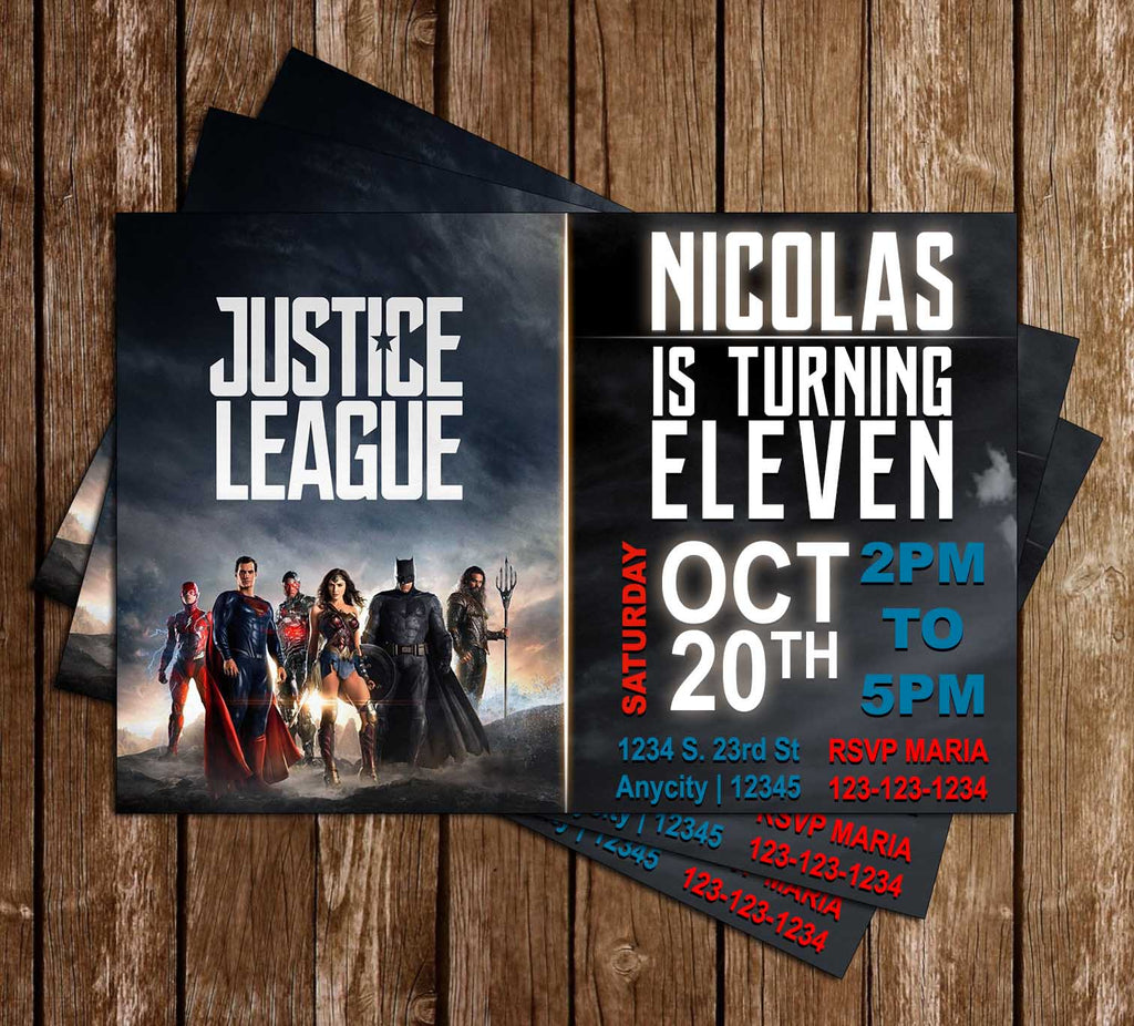 Justice League - Birthday Party - Invitation