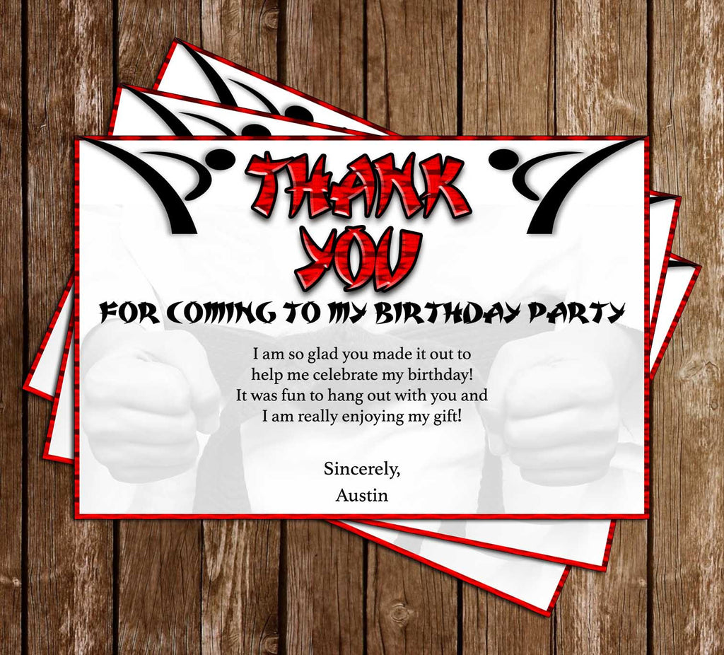 Karate - Martial Arts - Sports - Birthday Party - Thank You Card