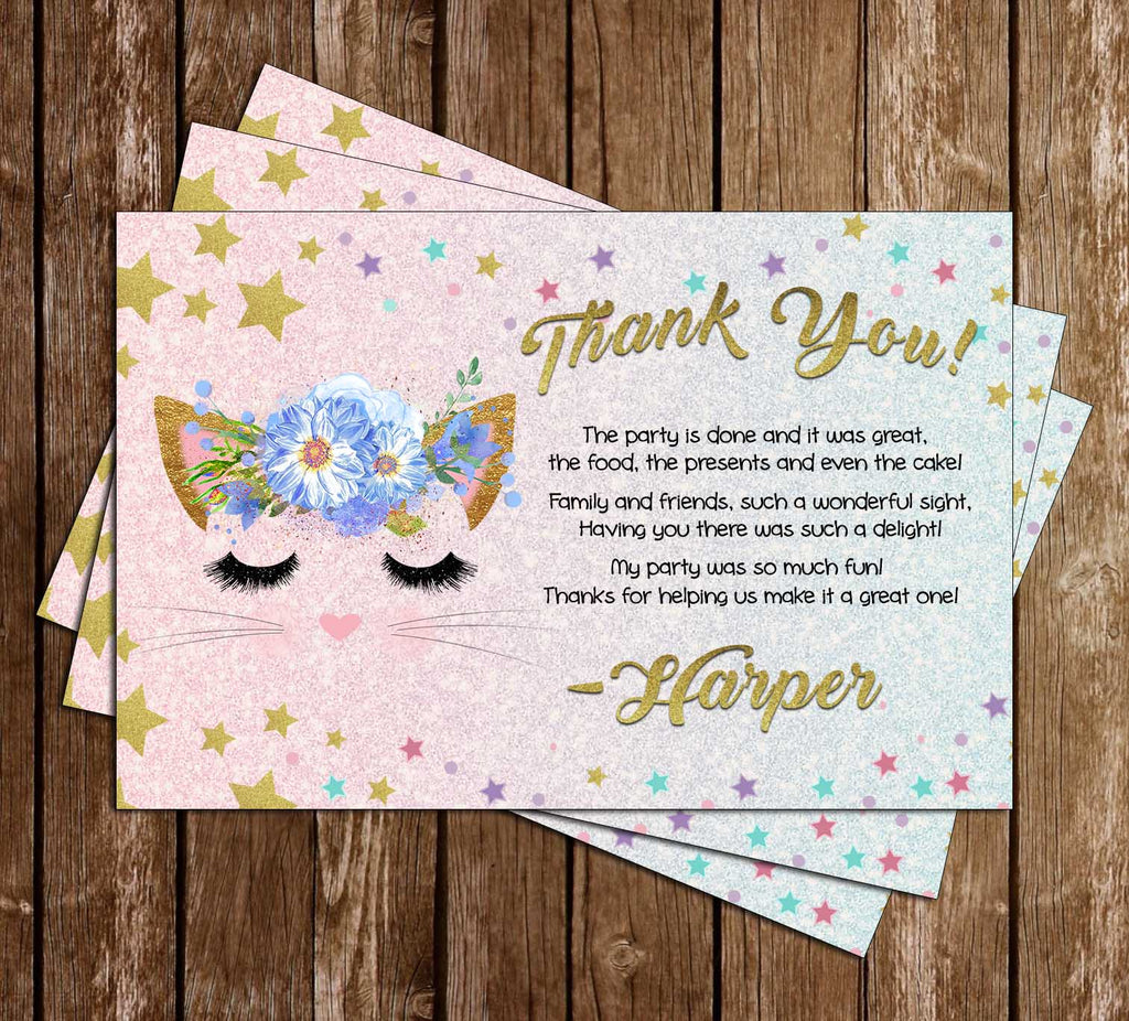 Kitten / Cats - Glitter - Birthday - Party - Thank You Card