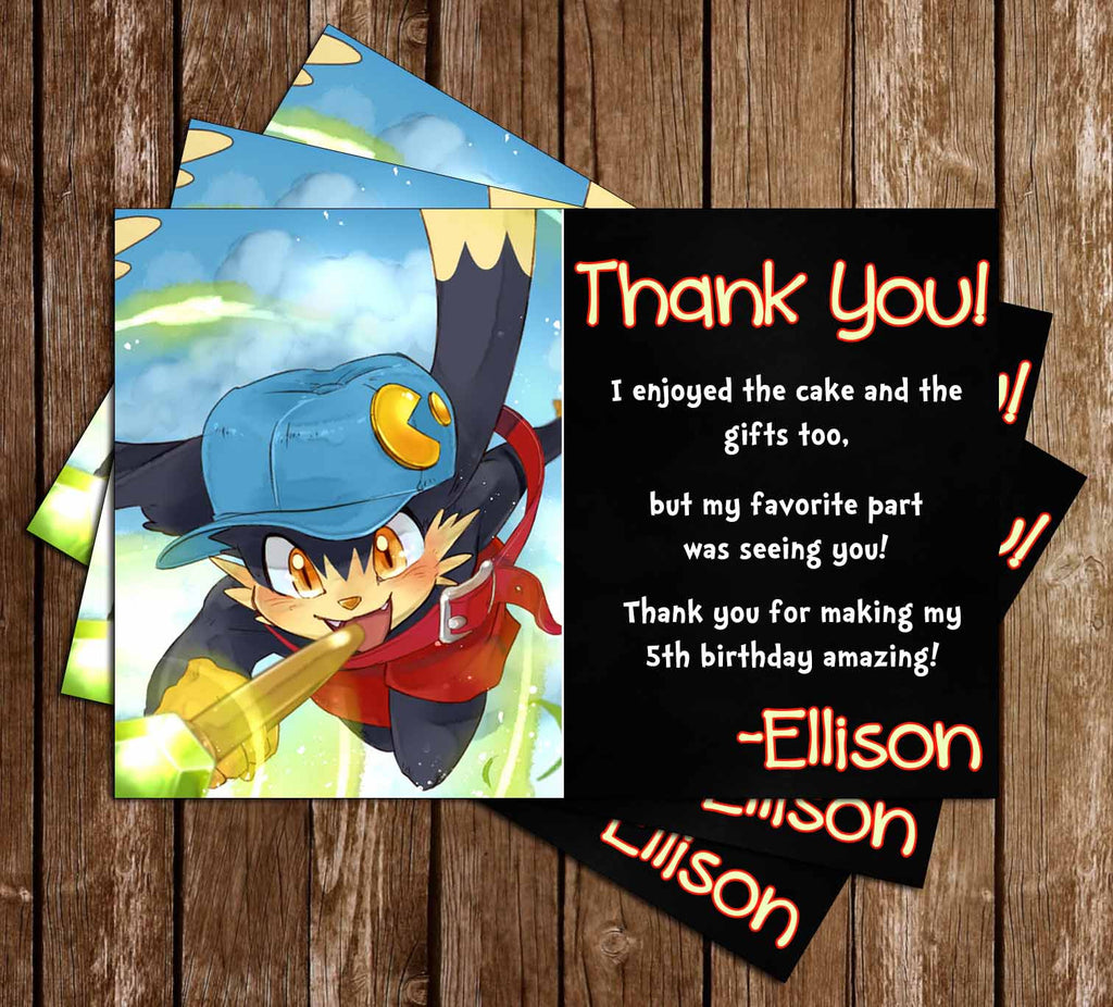Klonoa Video Game Birthday Thank You Card