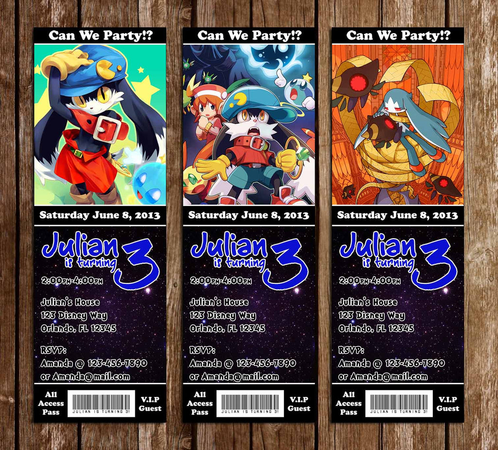 Novel Concept Designs - Klonoa Video Game Birthday Party Ticket ...