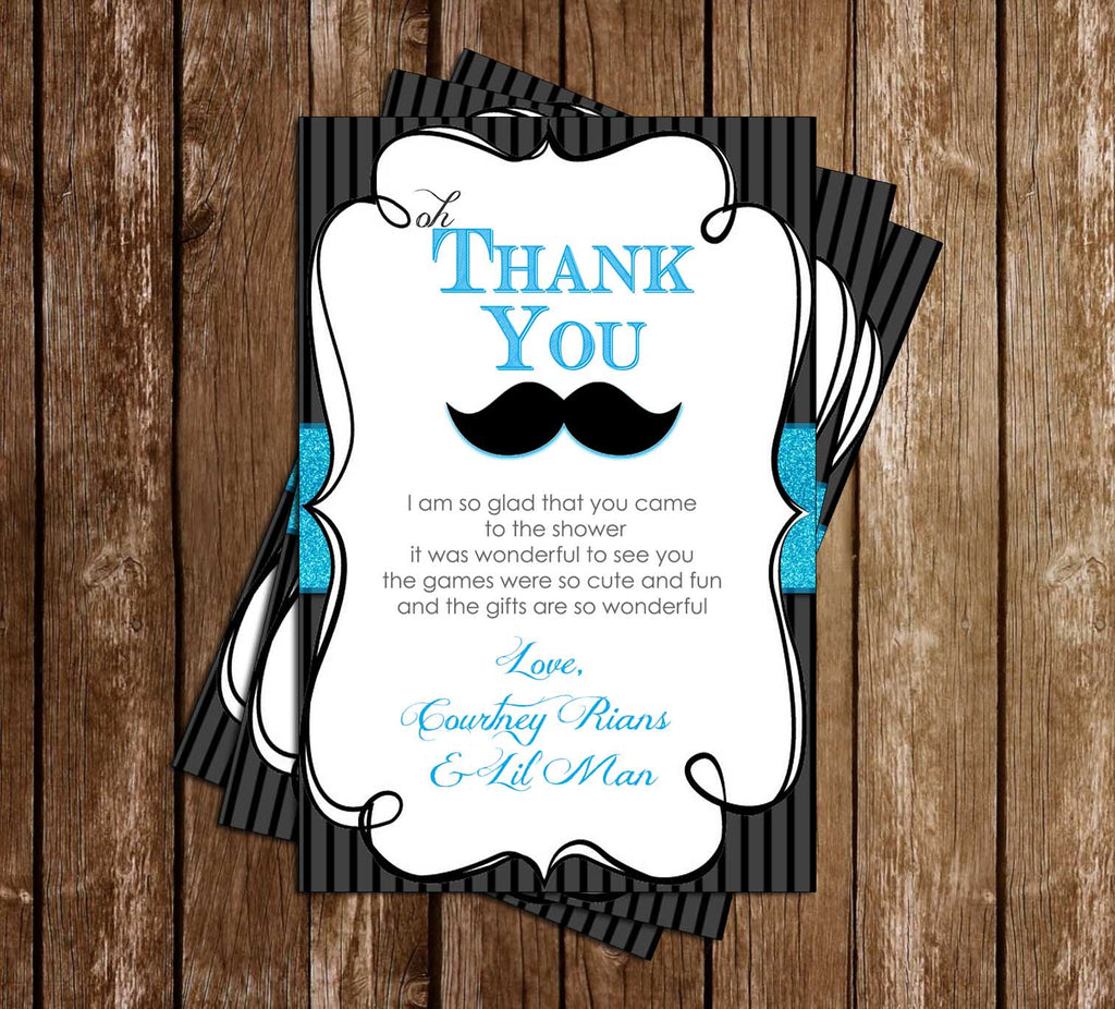 Little Gentleman - Mustace - Baby Shower - Thank You Card. Enlarge Image