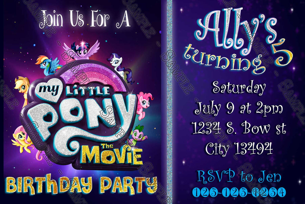 Novel concept designs my little pony movie purple birthday my little pony movie purple birthday party invitation filmwisefo