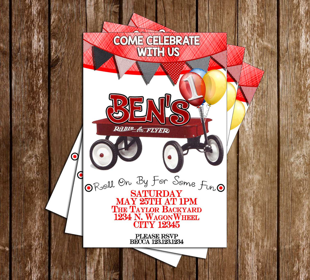 Little Red Wagon - Birthday Party - Invitation