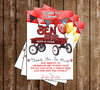 Little Red Wagon - Birthday Party - Thank You Card