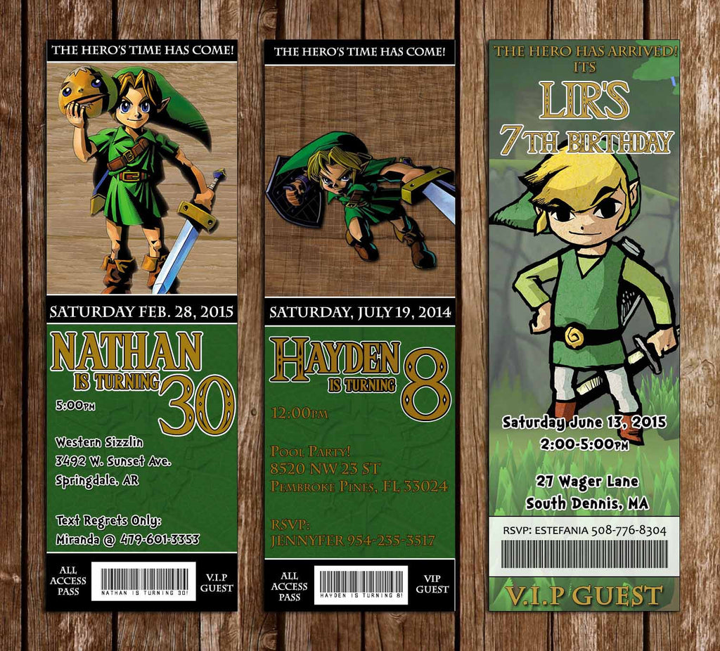 Novel concept designs legend of zelda birthday party ticket legend of zelda birthday party ticket invitations stopboris Choice Image
