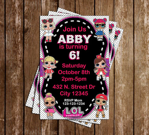 LOL Dolls - Polka Dots - Birthday Party - Invitation