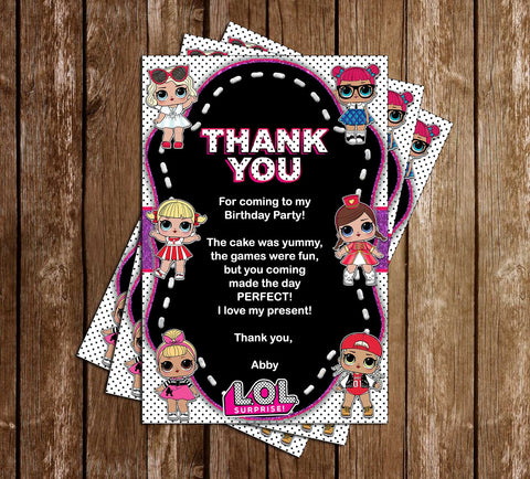 LOL Dolls - Polka Dots - Birthday Party - Thank You Card