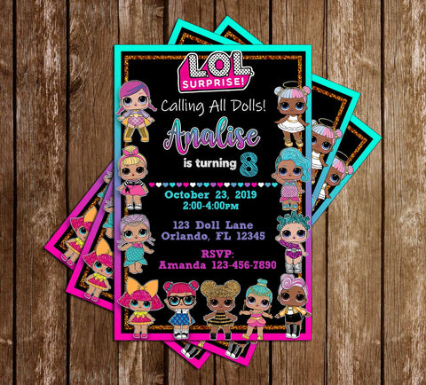 LOL Dolls - Rainbow - Birthday Party - Invitation