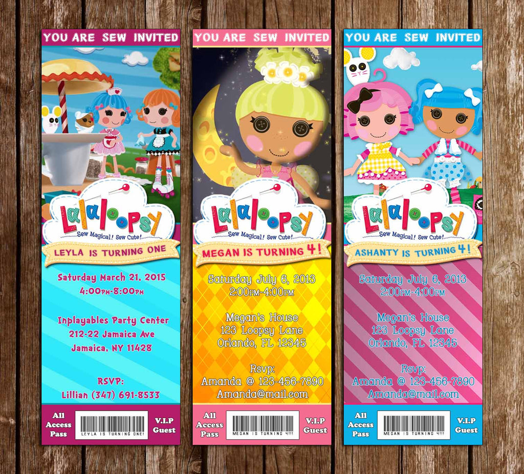 Lalaloopsy Birthday Ticket Invitation (3 Designs)