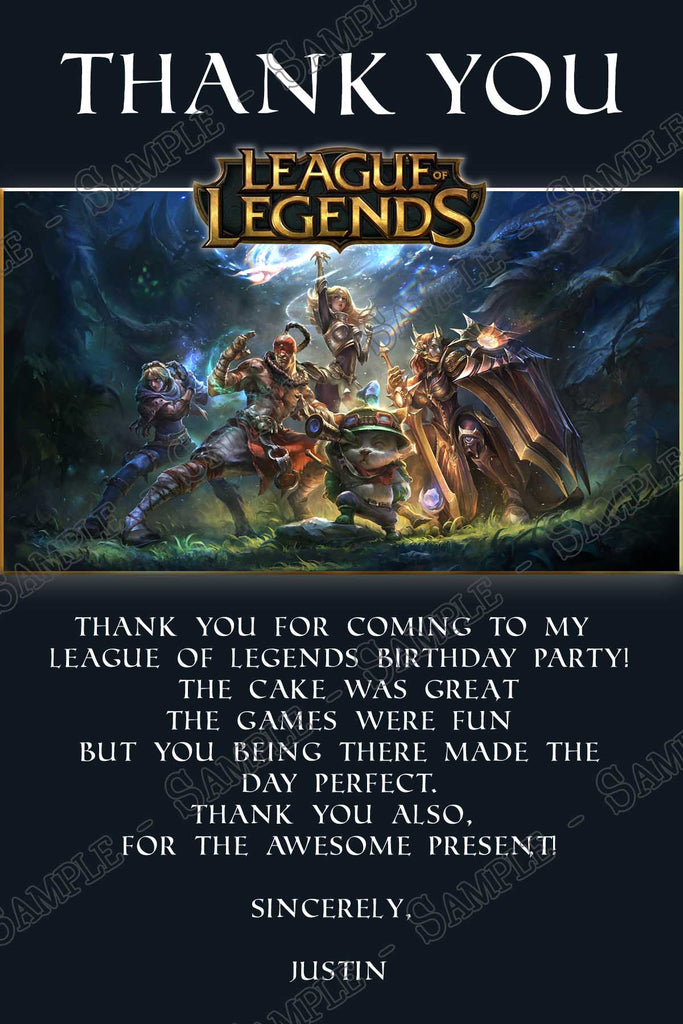 Novel Concept Designs League Of Legends Video Game Birthday Party Invitation