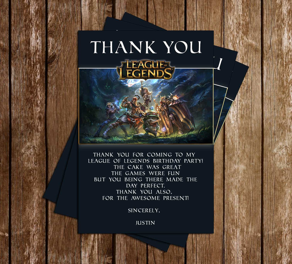 League Of Legends Video Game Birthday Party Thank You Card Novel Concept Designs