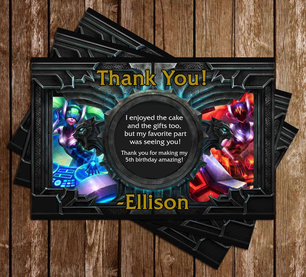 League of Legends Game Birthday Thank You Card