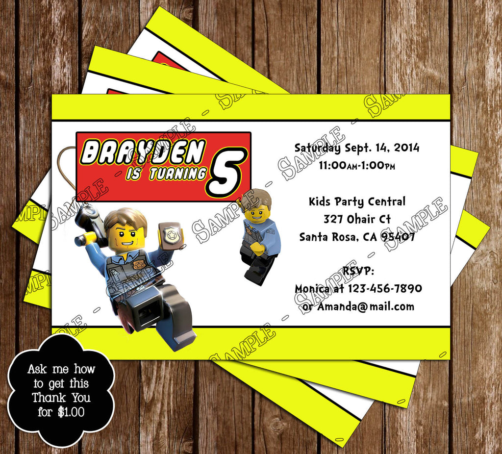 Novel Concept Designs Lego Birthday Party Thank You Card – Lego City Birthday Invitations