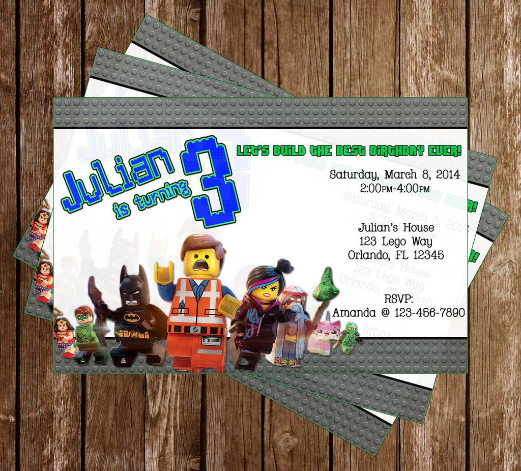 Lego Movie Feature Birthday Party Invitation