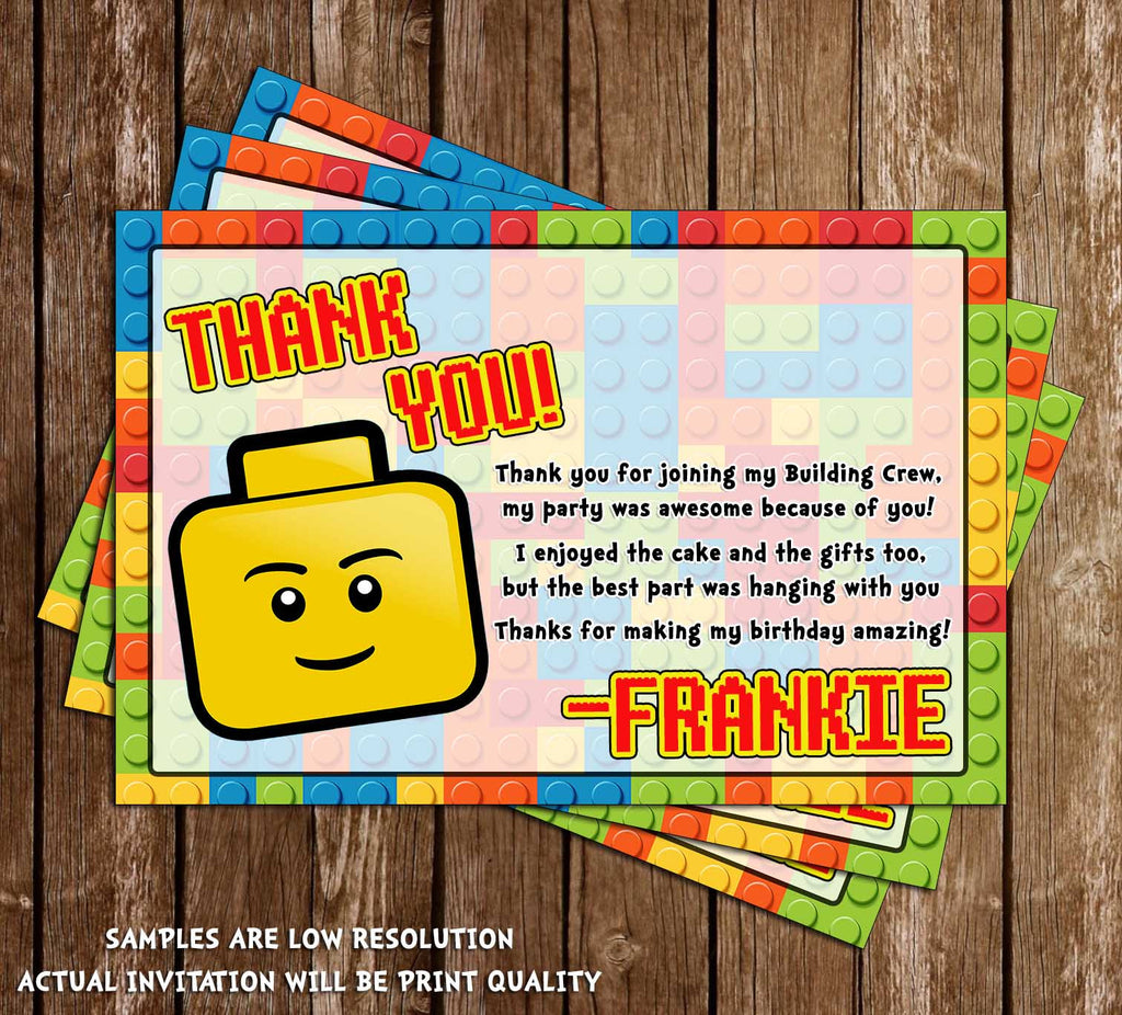 Novel concept designs lego birthday party thank you card lego birthday party thank you card stopboris Images