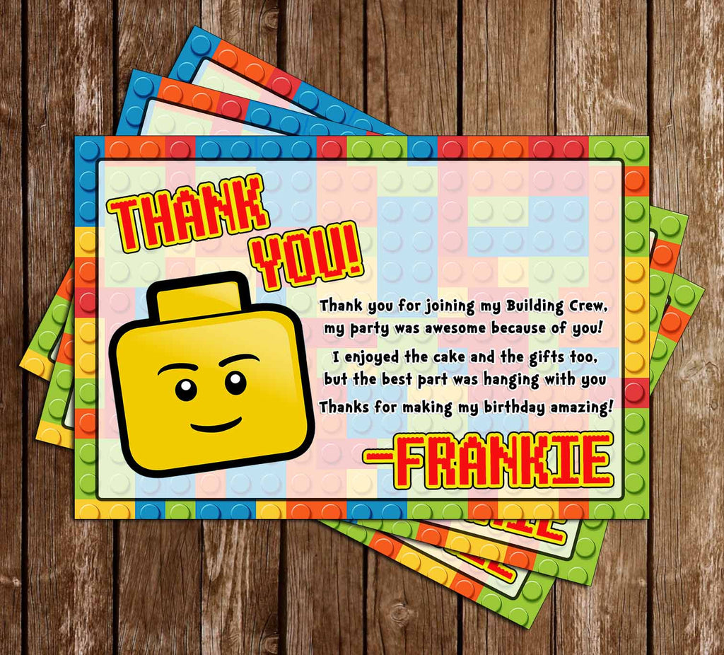 Lego Birthday Party Thank You Card