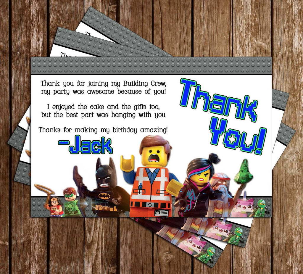 Lego Movie Birthday Party Thank You Card