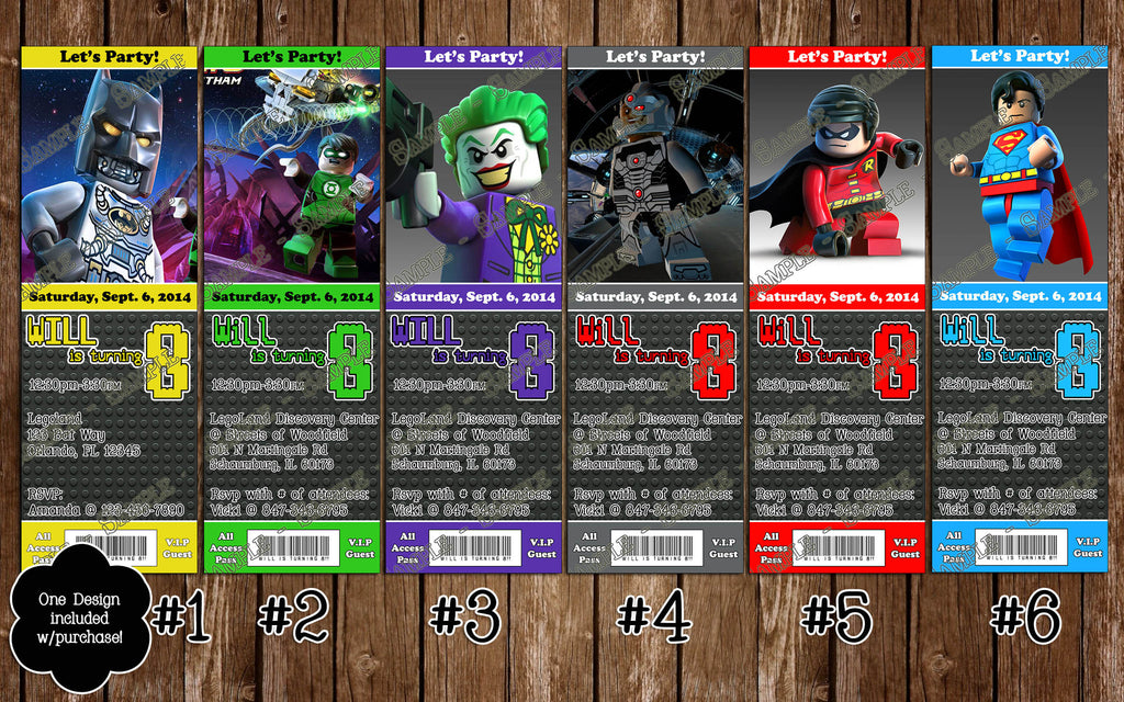 Lego Batman Birthday Party Ticket Invitation