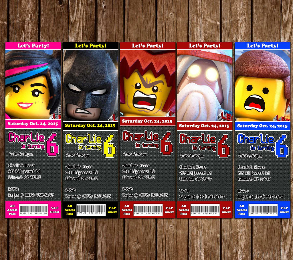 Novel Concept Designs - Lego Movie Birthday Party Ticket Invitation