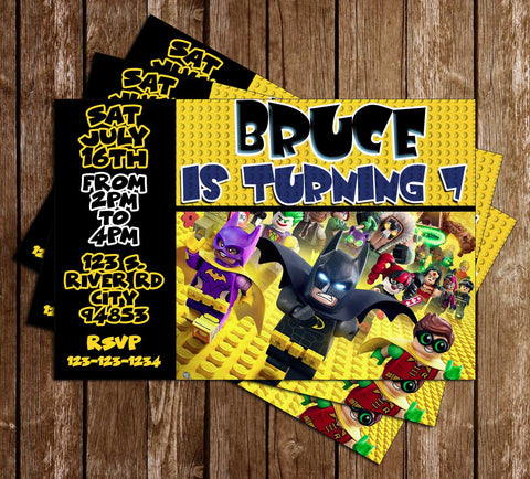 Lego Batman - Yellow - Birthday Party Invitation