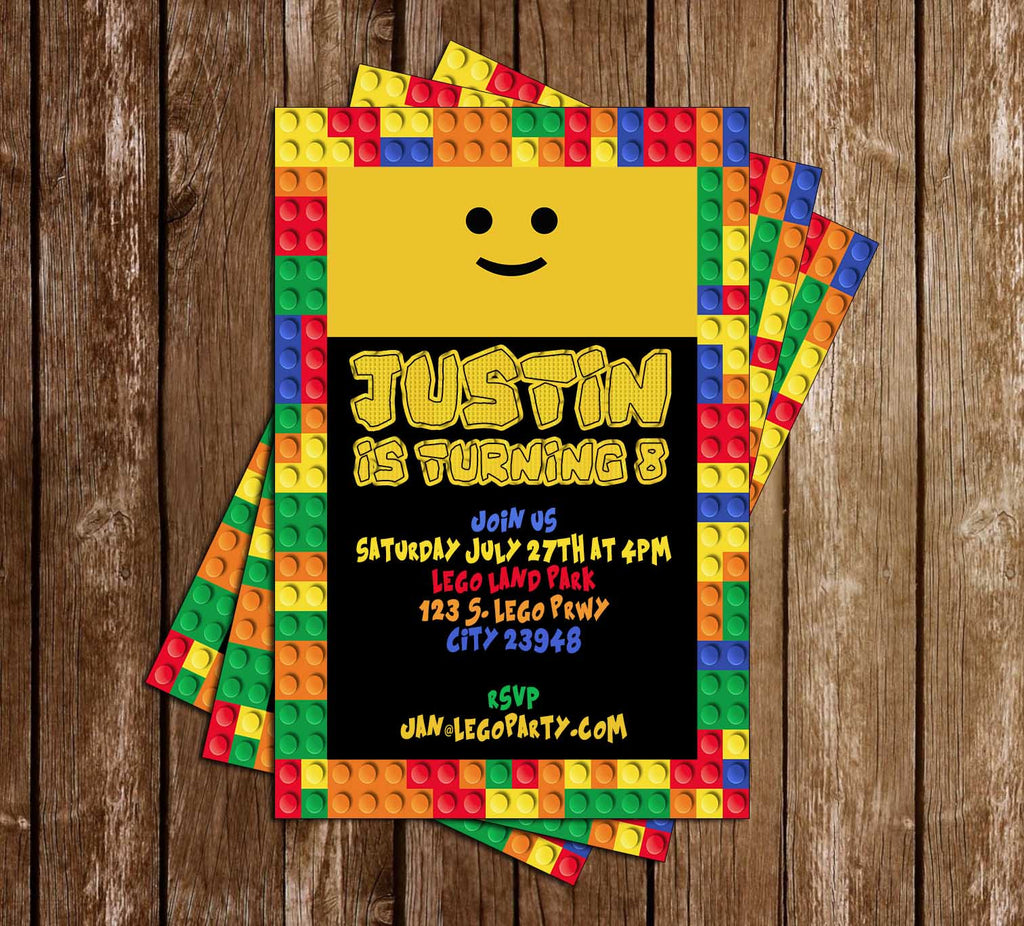 Lego Blocks - Birthday Party - Invitation