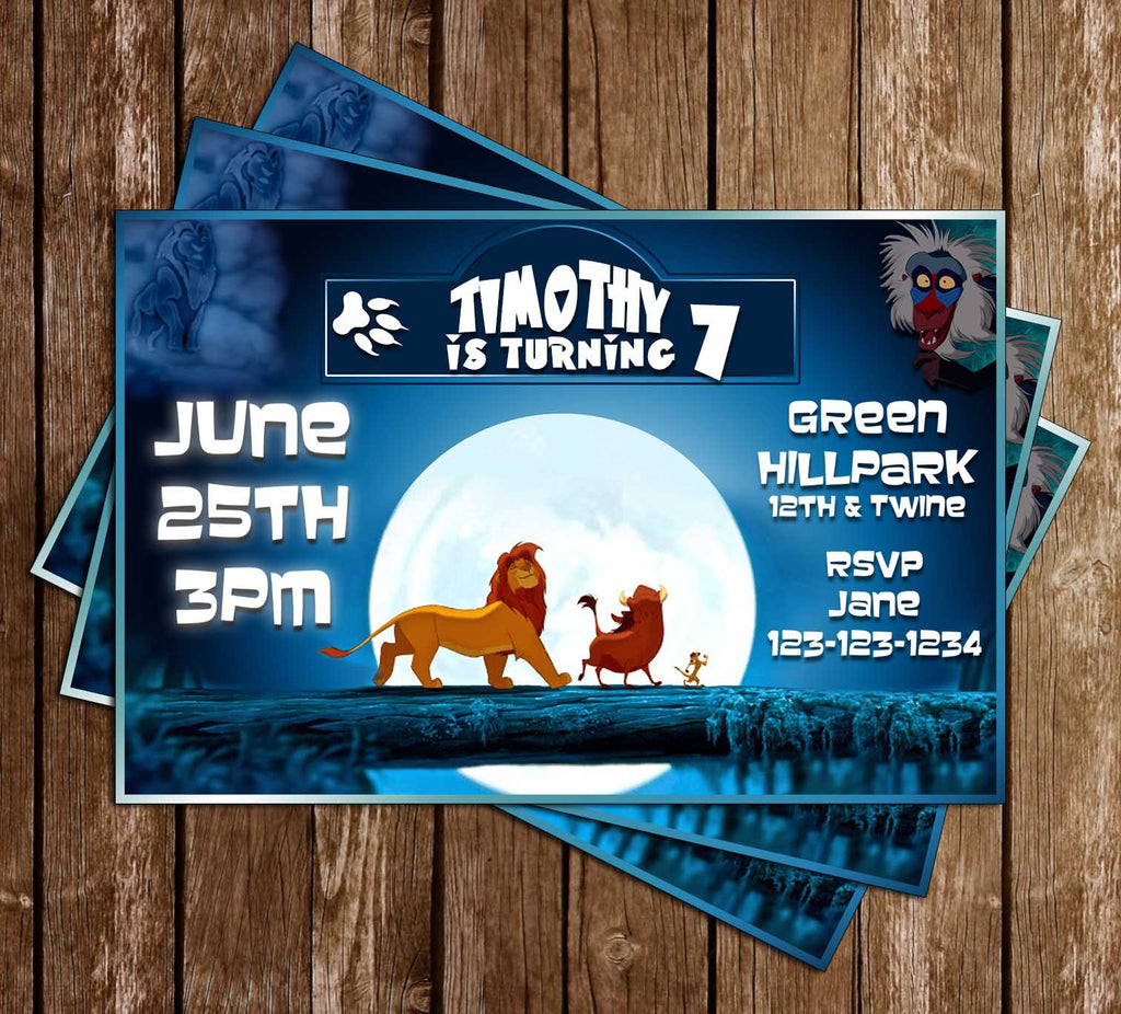 Lion King Movie - Blue - Birthday Party Invitation