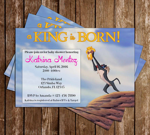 A King is Born - The Lion King - Baby Shower Invitation