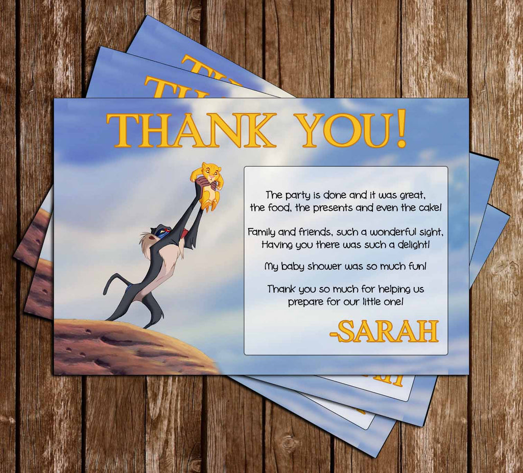 The Lion King - A King is Born - Baby Shower Thank You Card