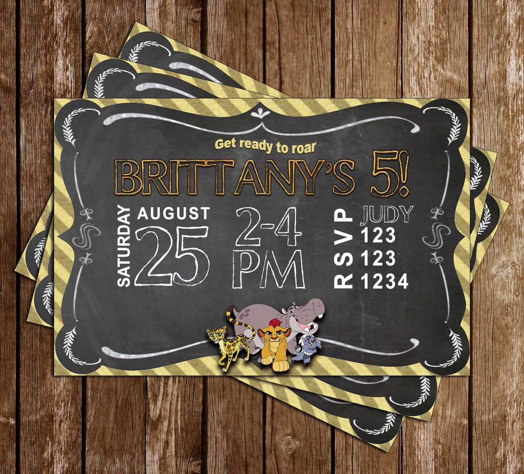 The Lion Guard - Chalkboard - Birthday Party Invitation