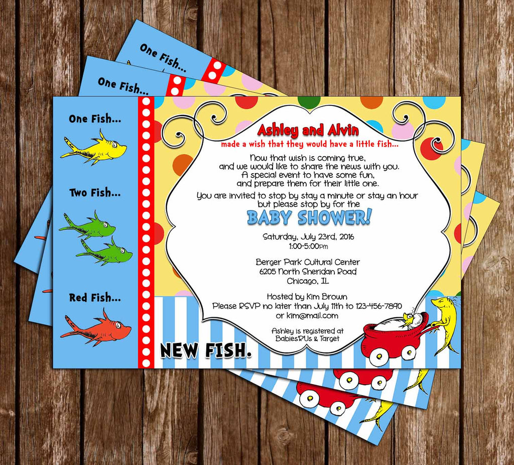 Dr Seuss One Fish - Two Fish - New Fish - Baby Shower Invitation
